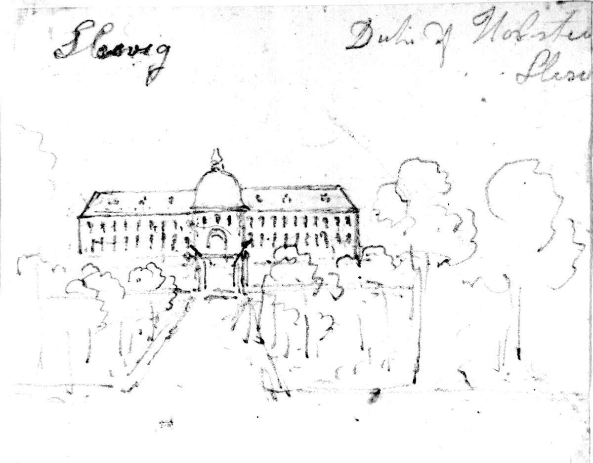 """Schleswig, muligens søndre del av Jylland eller i Tyskland Fra skissealbum av John W. Edy, """"Drawings Norway 1800""""."""