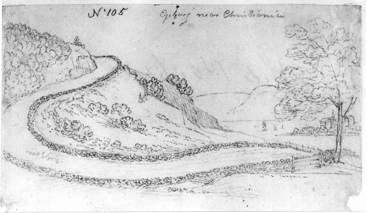 """Oslo. Christiania. Blyantskisse av John Edy: Drawings, Norway, 1800. """"Egeberg near Christiania.Veien opp Ekebergbakkene"""". Skissealbum utlånt av Deichmanske bibliotek."""