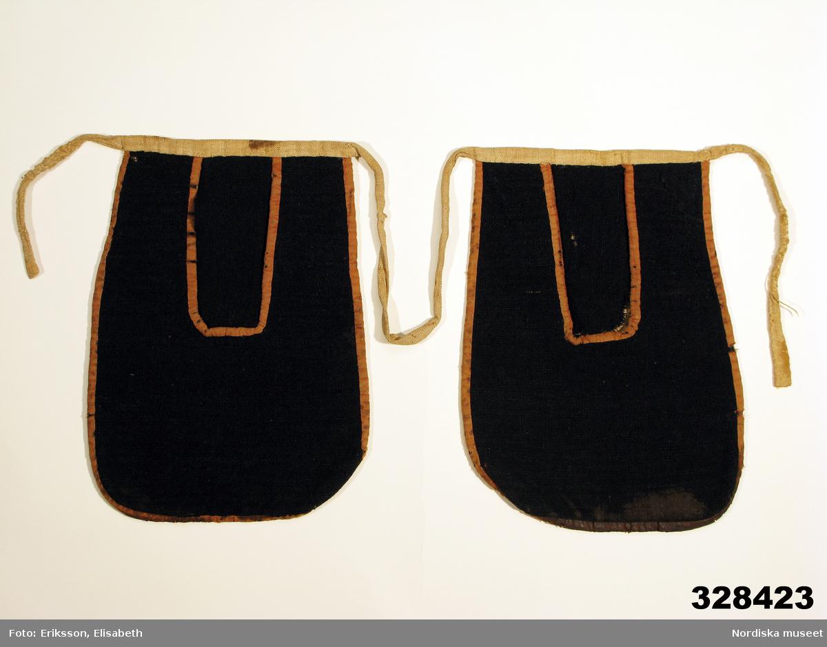 2 enkla likadana kjolväskor sammanhållna med ett midjeband så att de burits på var sida om förklädet. Av svart tuskaftat ylletyg i påsmodell med avrundade hörn och en rektangulär öppning, bandkantade med brunrosa bomullsband. Baksida och midjeband av oblekt linnelärft. Anm.: Bandkanter slitna och midjeband lagat. I botten på båda väskorna finns en mörk utfällning efter något innehåll. Sannolikt har där förvarats saltsleke till korna.  Kjolväskor av denna typ har varit vanliga i hela fäbodområdet och eljest vid kreatursvallning. I Hälsingland kallas de slättjetaska för att de använts att bära med sig sleke som användes att locka korna med.  Funnen omärkt i Nordiska museets magasin 2006. /Berit Eldvik 2006-06-27