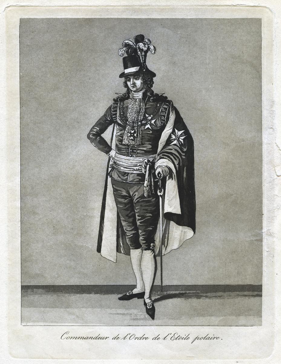 """""""Commandeur de l'Ordre de l'Etoile polaire."""" Dräkt för kommendör av Nordstjärneorden. Akvatint trol. av J A Aleander, 1780-tal."""