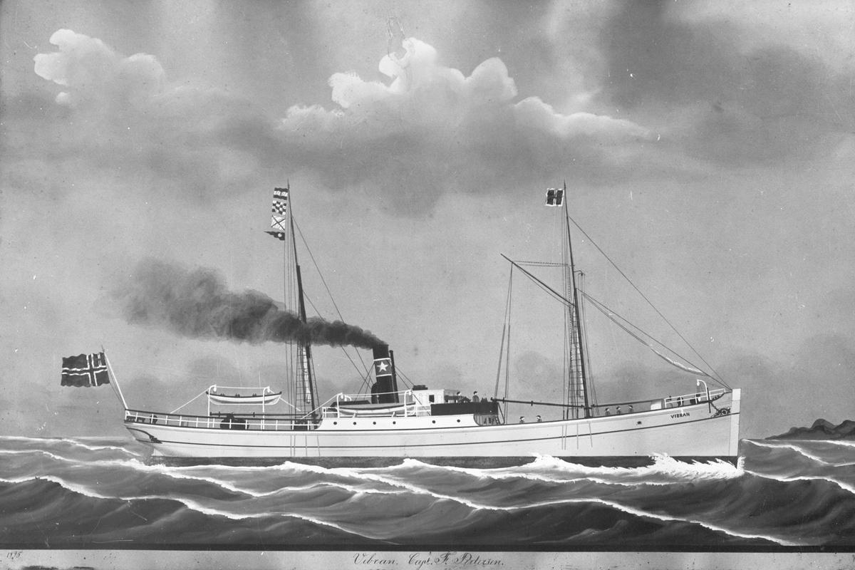 """Avfotografert maleri av tredamperen D/S """"Vibran"""" fra Knutsen-rederiet på Vibrandsøy, Haugesund. Deler av mannskapet på taket av styrhuset og på dekk."""