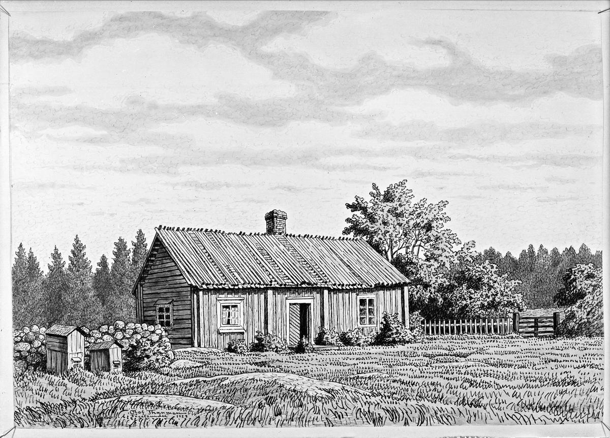 Konstverk - teckning med motiv från Fågelsundet, Hållnäs socken, Uppland, signerad 1928 av konstnären Olof Thunman