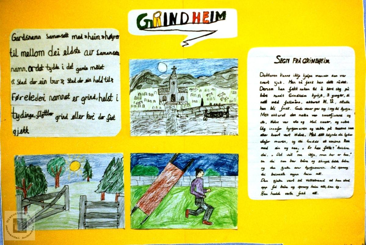 Grindheim med info og tegning i forbindelse med bygdeutstilling. Audnedal