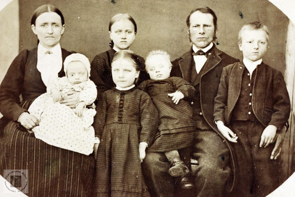 Familieportrett av familien Refsnes. Grindheim Audnedal.