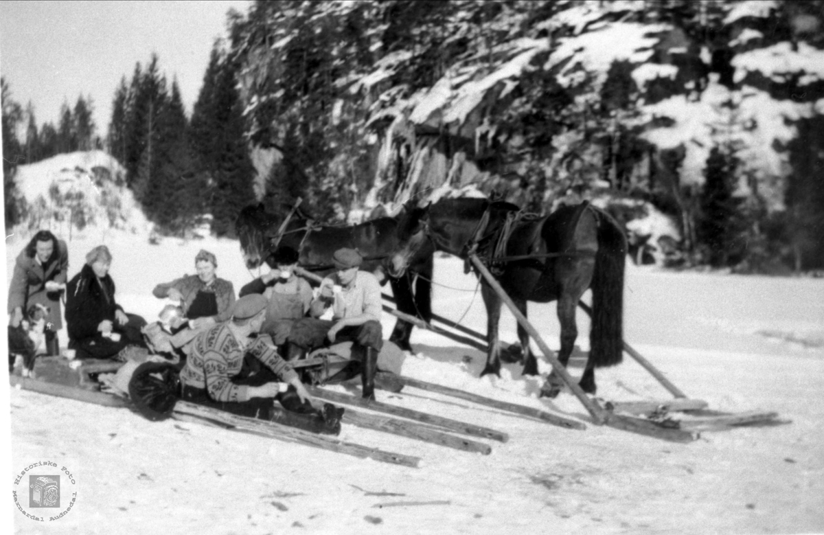 På isen med hest, Foss Bjelland. Bilde er tatt på isen, ved Foss, over til Lislesundet, ca 1950.