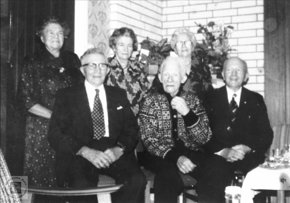 "95-årsdag. Søskenflokken samla hos ""storebror"" Rosseland. Bjelland."