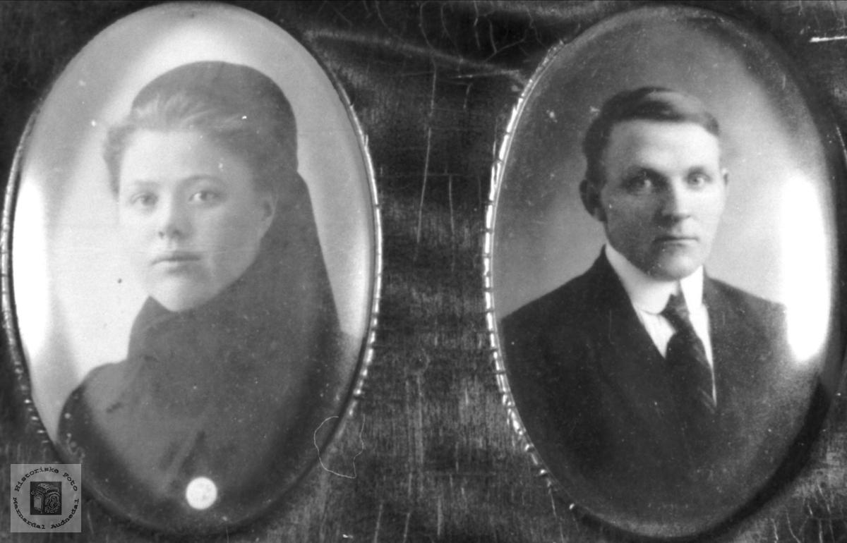 Portrett. Guri Ommundsdtr. og Nils Knudson Skuland, Laudal.