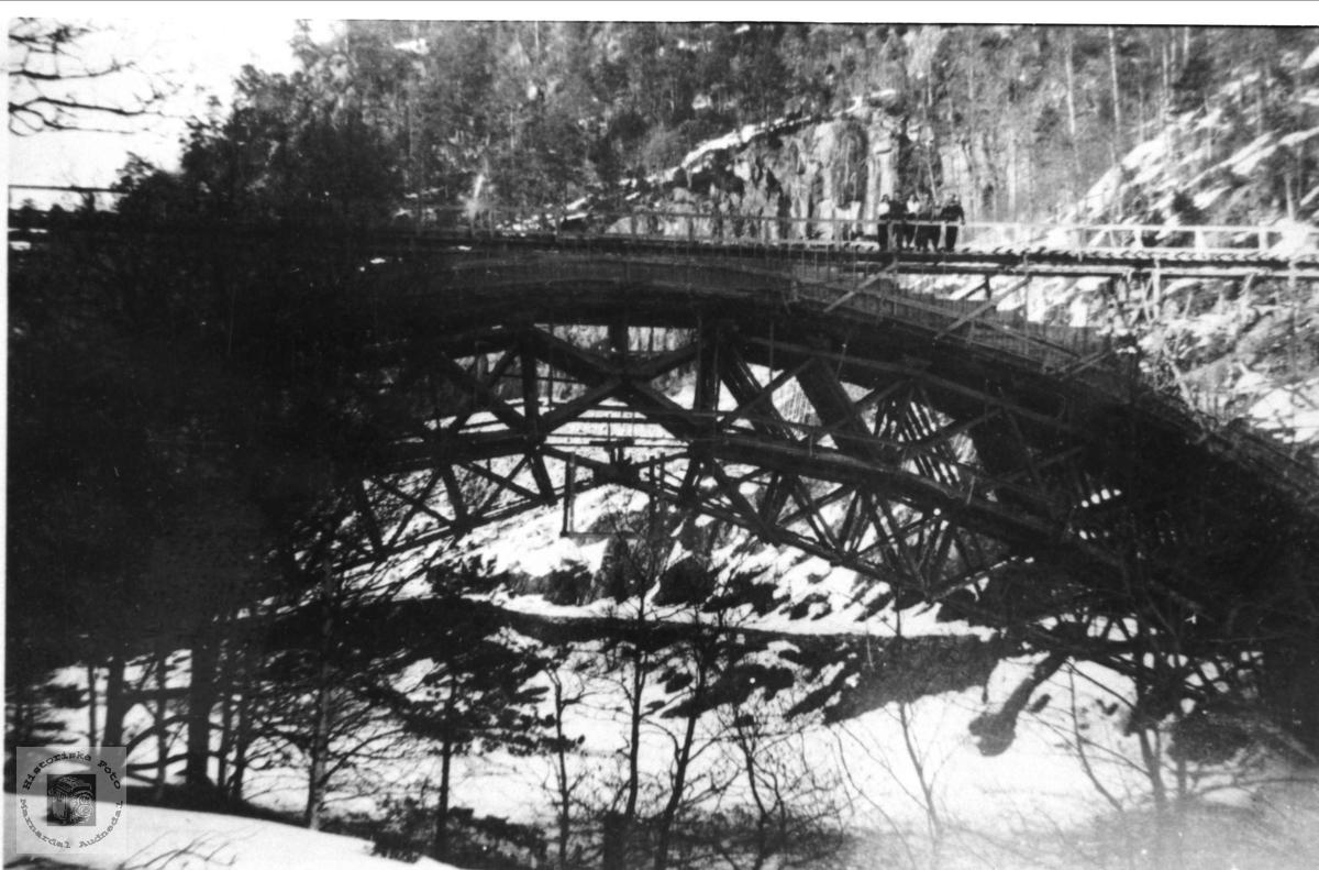 Jernbanebru over Mandalselva  i Regeviga, Øyslebø,