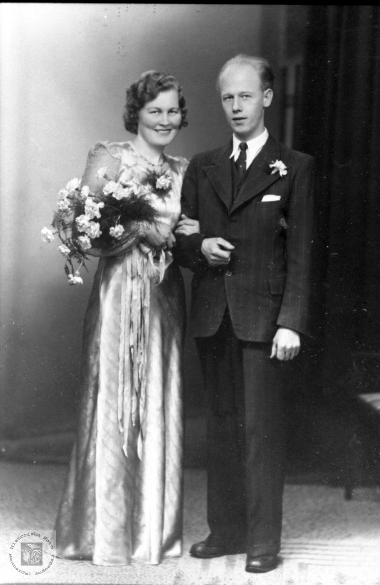 Brudeparet Olga og Erik Eriksen.
