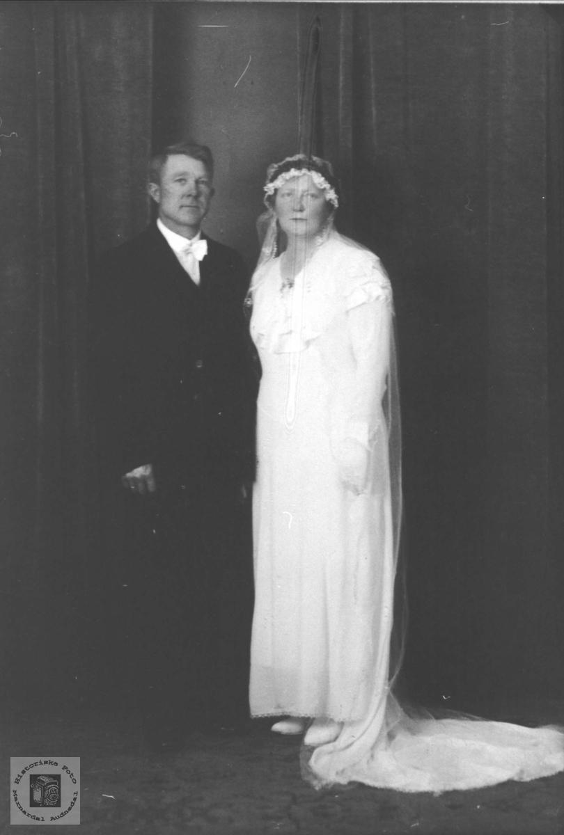Brudebilde av Torkjell og Karoline Homme, Bjelland Øyslebø.