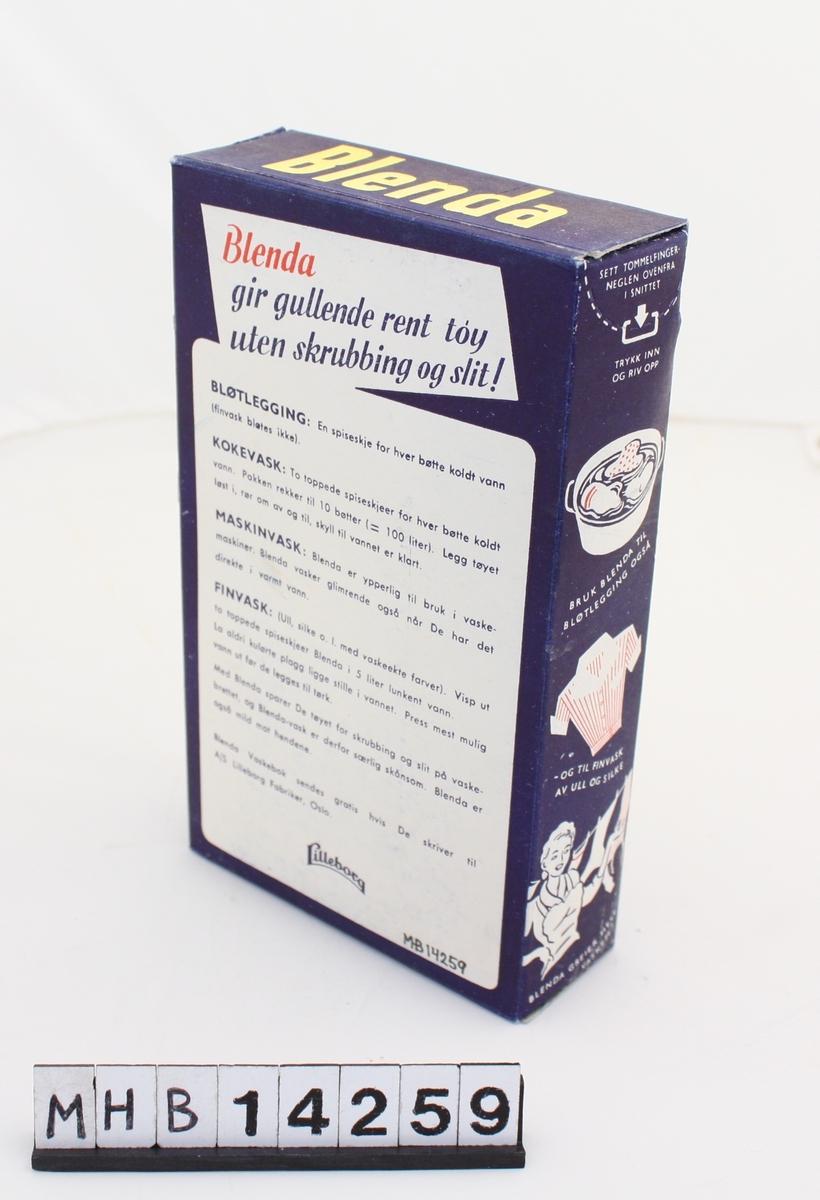 Vaskemiddel i rektangulær pappeske. Produktets egennavn står på forsiden og oversiden. Forsiden dekoreres av såpebobler i ulike størrelser. På baksiden er informasjon om ulike bruksmåter.