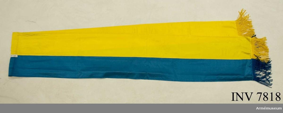 Hälften blå och hälften gul på längden sydd i sidentyg i kypert.  Frans av gult silke, 80 mm bred. För flygets fanor skall fransen vara hälften blå och hälften gul över respektive samma färg i sidenet.  Se TKG 906:720007.