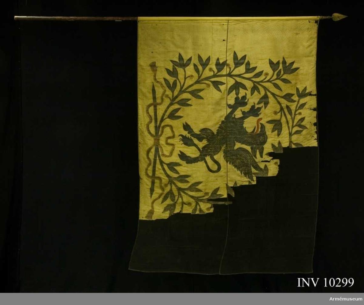 Grupp B I.  Fanduk av gul taft med målade emblem: Södermanlands sköldemärke en svart grip med röd tunga, omgivet av en krans av tvenne lagerkvistar i svart och grönt med bär i guld och rött, nedtill hopknutna med bandrosett i guld och rött. Fastspikad med gult sidenband och kupiga mässingsstift. Tillverkad 1730 av Johan Wijkman. Stång av furu, brun. Spets av förgylld mässing, holken med profilerade vulster. Bladet lansettliknande, förvaras i rullen.Tillstånd: Duken blekt och starkt fragmentarisk, övre och yttre delen saknas. De kvarvarande delarna insydda mellan crepelin.