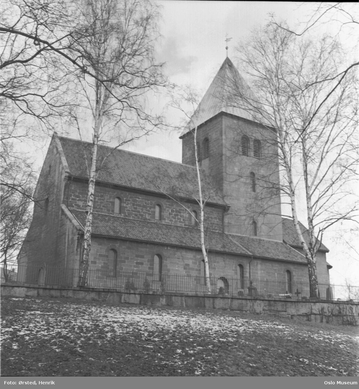 Gamle Aker kirke, fra syd, mur, trær