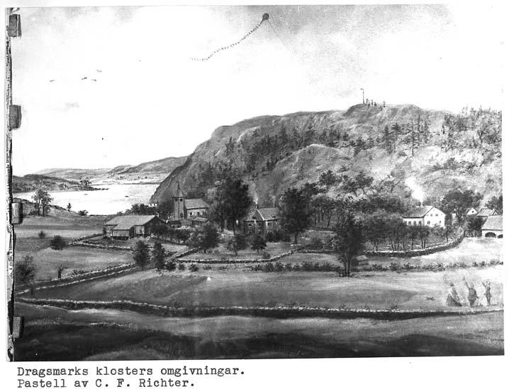 Fotografi av målning Dragsmarks klosters omgivningar av C. F. Richter