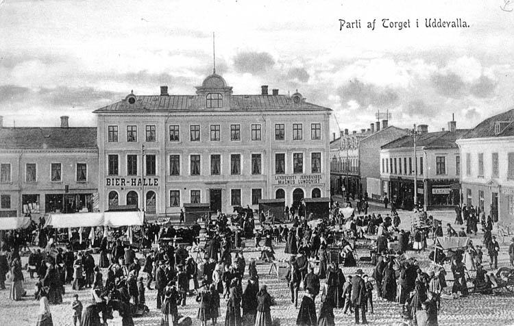 Parti af Torget i Uddevalla. Uddevalla Musikhandel. Imp.