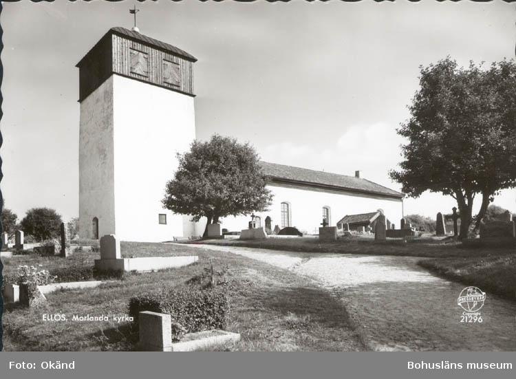 """Tryckt text på kortet: """"Ellös. Morlanda kyrka.""""  ::"""