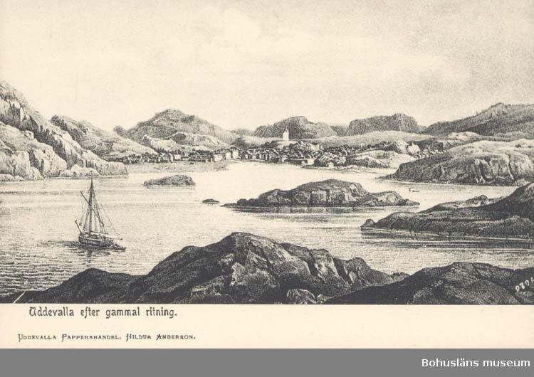 """Tryckt text på kortet: """"Uddevalla efter gammal ritning. """" """"Uddevalla Pappershandel, Hildur Andersson."""""""