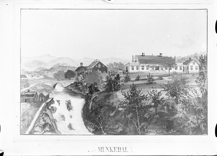 "Enligt fotografens anteckningar: ""1932, 73. Munkedals Herrgård oljemålning omkring år 1870""."