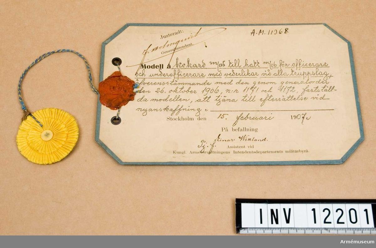 Grupp C I. Till officershatt m/1906. Dep. från Kungl Arméförvaltningens Intendentsdep.