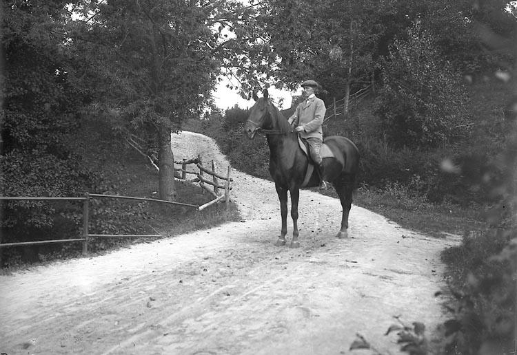 """Enligt fotografens journal Lyckorna 1909-1918: """"Eliasson, Kusk till häst"""". Enligt fotografens notering: """"Kusk Eliasson, Anfasteröd Ljungskile""""."""