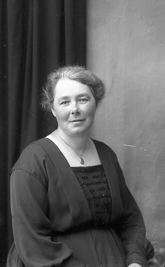 """Enligt fotografens journal Lyckorna 1909-1918: """"Fru Alma Norström Ljungskile""""."""