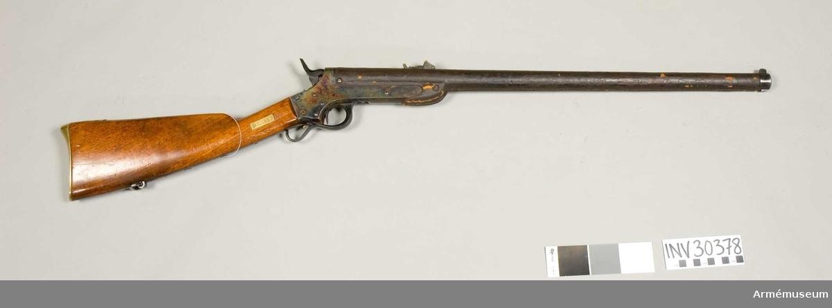 Grupp E II.  Räfflat. Sharps system 1859. Sharp-Hankins system omkring 1863. Relativ längd: 46 kaliber. Kulvikt: 23,8 g.