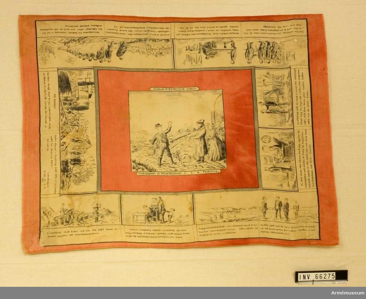 Grupp M V. Teckningarna är av överstelöjtnant C.L.H. Thulstrup. Signerad i vänstra hörnet J.Winkel samt T. Förlaga till texten under bilderna är Värnpliktslagen av den 5 juni 1885.