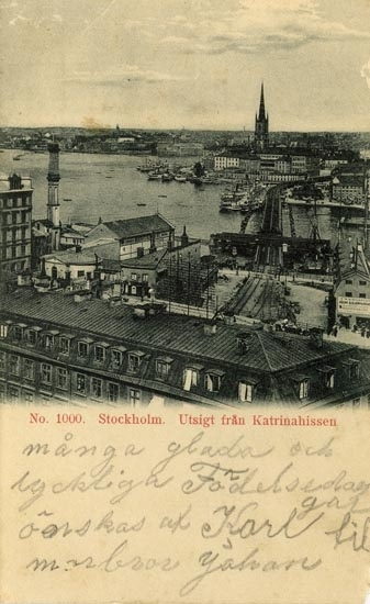 Notering på kortet: Stockholm. Utsikt från Katrinahissen.