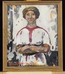 Ung flicka, en face eller Kopia efter Edv. Munch [Målning]