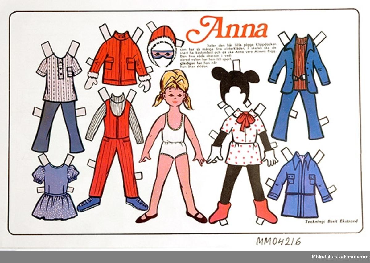 Klippdockan Anna, lilla flickans kläder, outklippt från veckotidning.