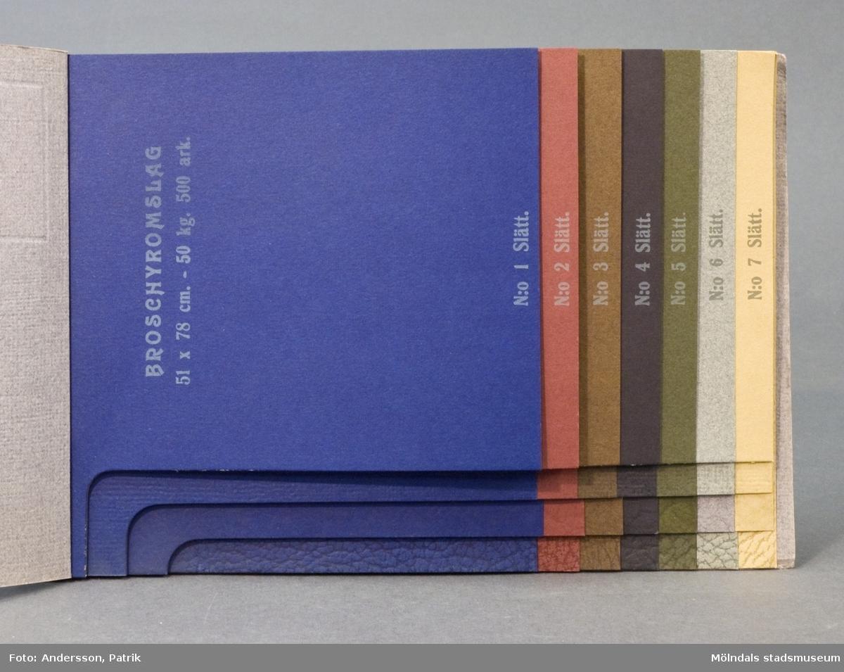 Provbok 28, häfte med prover, Extra fint Broschyromslag. Pärm av grått linnepressat papper med relieftryck och påklistrad bild över Papyrus fabriker i Mölndal. 28 provark i 7 olika färgnyanser och 4 olika mönsterimitationer, ordnade lättöverskådligt. Litteratur: Papyrus 1895-1945, Minnesskrift, Esseltes Göteborgsindustrier AB, Göteborg 1945.