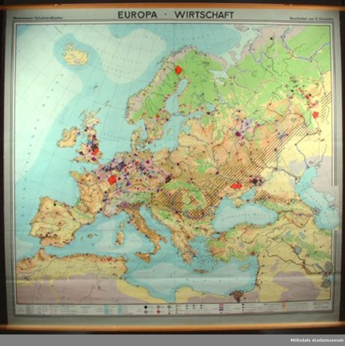 Geografisk karta, motiv: Europas näringsliv.I gott tillstånd.
