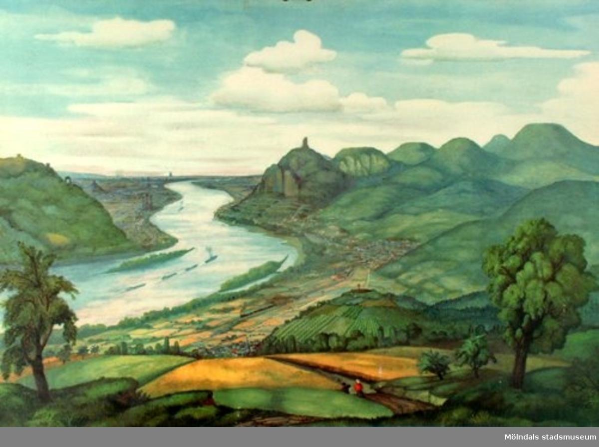 :1: Dammanläggning vid Nordsjökusten.:2: Rhen vid Siebengebirge.:3: Alperna (Jungfraumassivet).:4: Afrikansk savann.:5: Oljefält vid Arabiska öknen.:6: Sydamerikansk urskog.:7: Eskimåer (Polarlandskap).