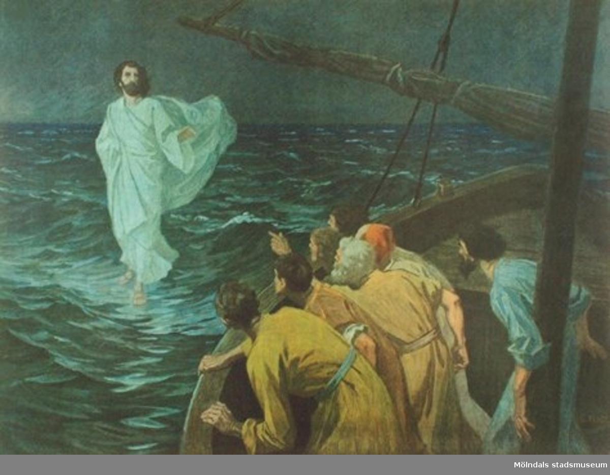 Kristendomskunskap:Jesus går på vattnet.Bibeln i bild nr. 29.Konstnär: G. Fugel.