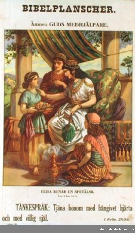 Kristendomskunskap.Bibelplanschen: Guds medhjälpare.Elisa renar en spetälsk. (2 Kon. 5:1-14).