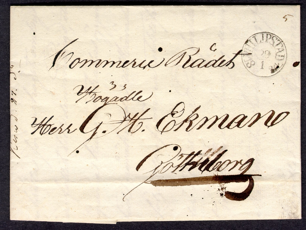 Förfilatelistiskt brev skickat från Filipstad 27 januari 1834 till Kommersrådet G. H. Ekman i Göteborg.  Stämpeltyp: Bågstämpel