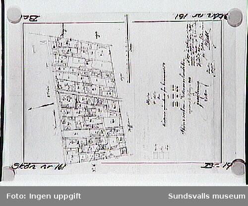 Hemmanet nr 2. Karta över avsöndrade tomter 1889.Två delar,varav denna är nummer 2.