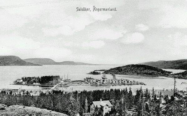 Salsåkers ångsåg. Herrgården som möjligen syns på bilden, byggdes under 1880-talet och tillbyggdes omkring 1915, eller under krigsåren då sågen tycks ha haft sin blomstringstid. Vykort.