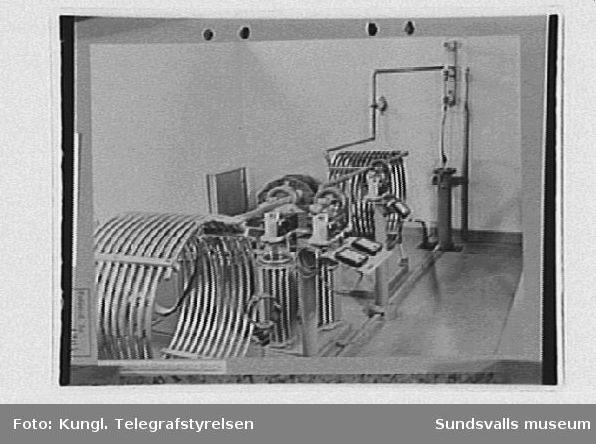 Interiör från radiosändare, antennavstämningskretsar, rundradiostationen i Ljustadalen, 1949.