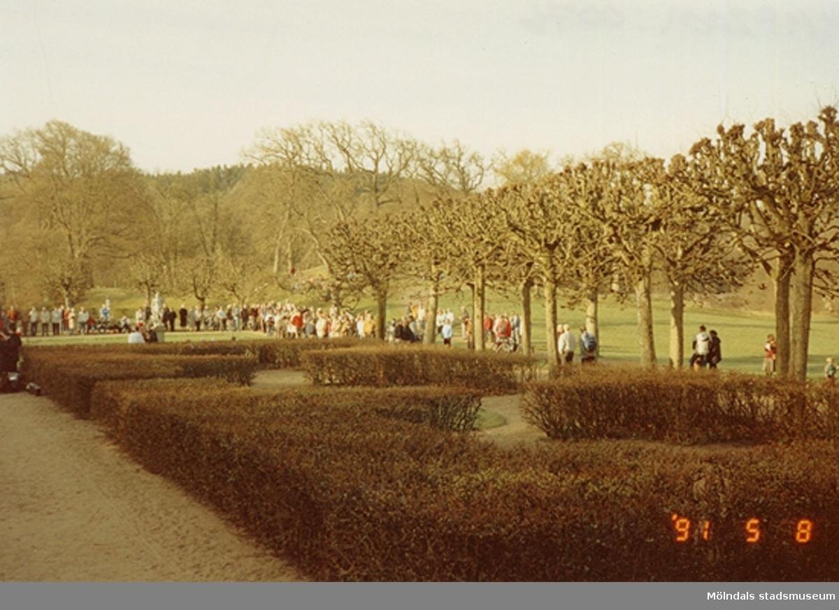 Landskapsbild med en grupp människor i Gunnebo slottspark, maj 1991.