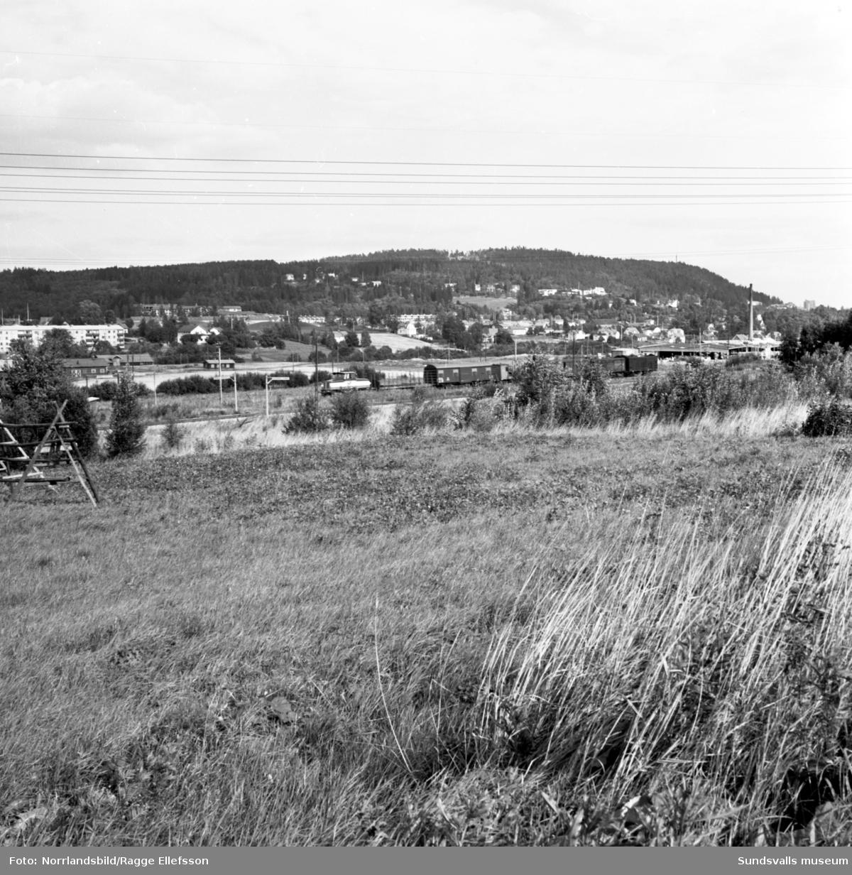 Granlo och Selånger industriområde samt E75 (nuvarande E14).