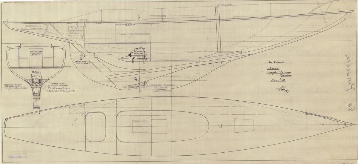 Profil och plan med motor och bränsletankplacering