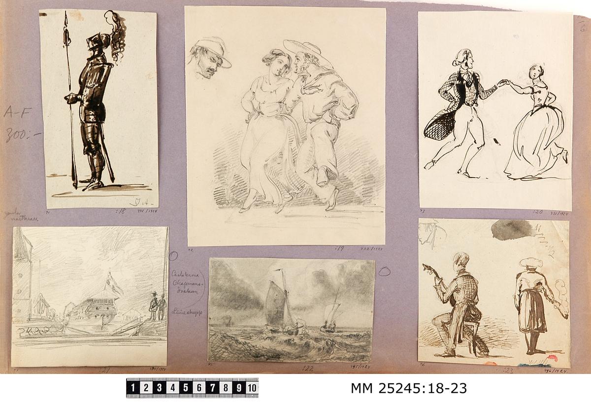 """Blyertsteckning föreställande gamla mastkranen i Karlskrona och Chapmansdockan. Chapmansdockan utgör bildens centrala del där ett skepp med flagga är placerad. Till vänster om dockan finns gamla mastkranen. Två personer är placerade till höger om dockan. Monterad på ljuslila/grått papper tillsammans med MM 25245:18-23. På detta papper finns blyertsanteckningar, till vänster över bilden: """"gamla mastkran"""" och till höger om bilden """"Carlskrona Chapmansdockan""""."""