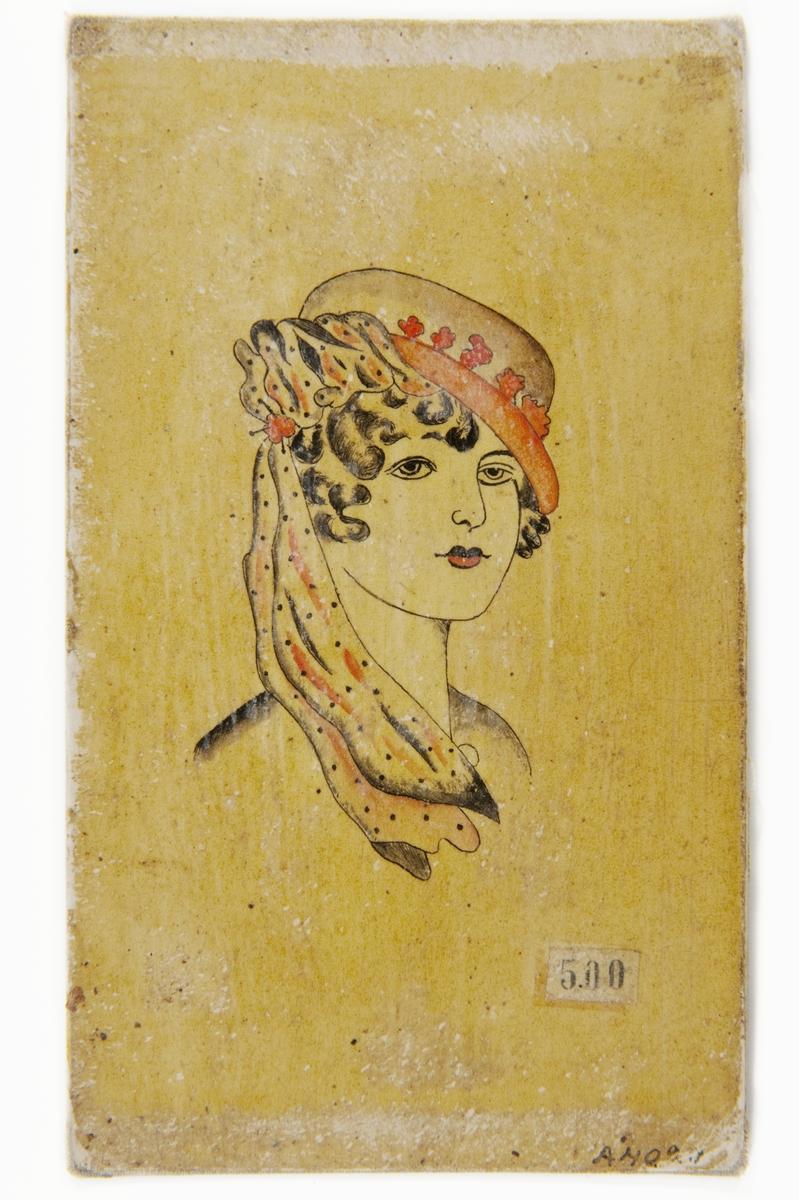 Tatueringsförlaga. Porträtt av en kvinna i en hatt med rött brätte och prickig slöja över axeln.