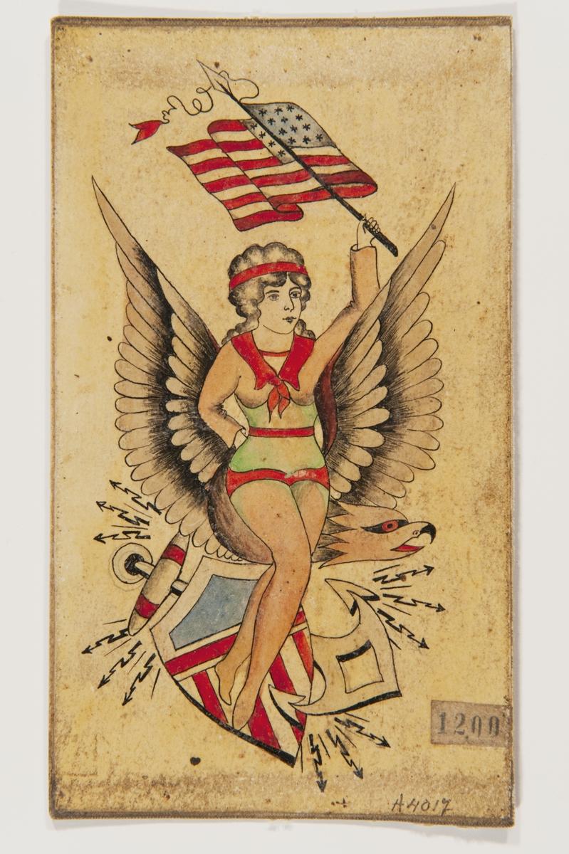 Tatueringsförlaga. Kvinna med rött hårband och grön gördel med en amerikansk flagga i handen. I bakgrunden örn, ett ankare och en sköld i amerikanska färger.