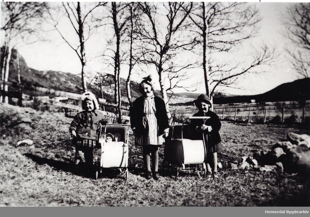 På tur med dokker og dokkevogn på Embre,66.1, ca. 1955 Frå venstre: Berit Marie Fekene, Kirsti Helgesen og Tove Helgesen