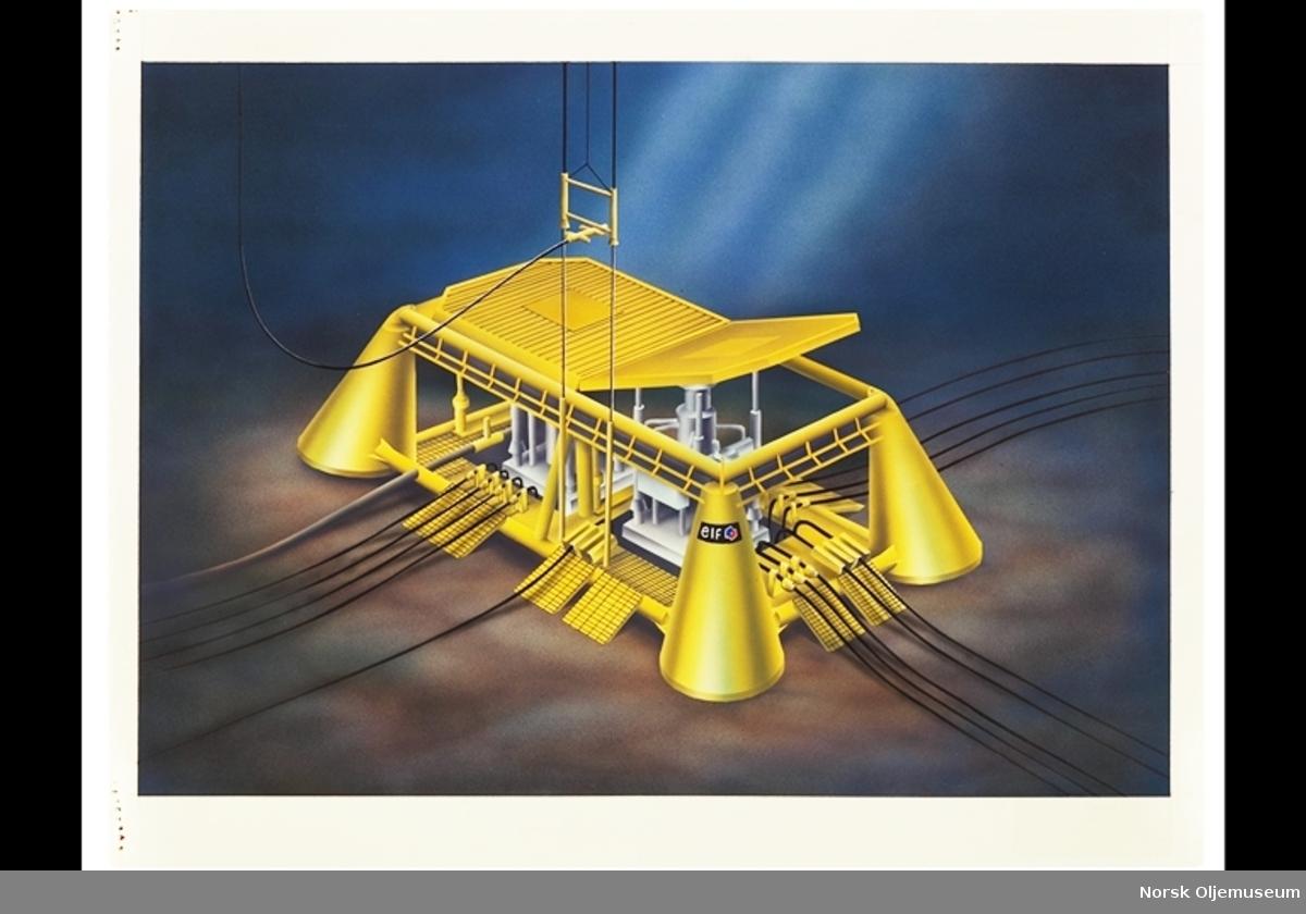 Lille Frigg Template - bunnramme. Lille-Frigg har tre undervannsinstallasjoner. Illustrasjon av Svein Bjur.