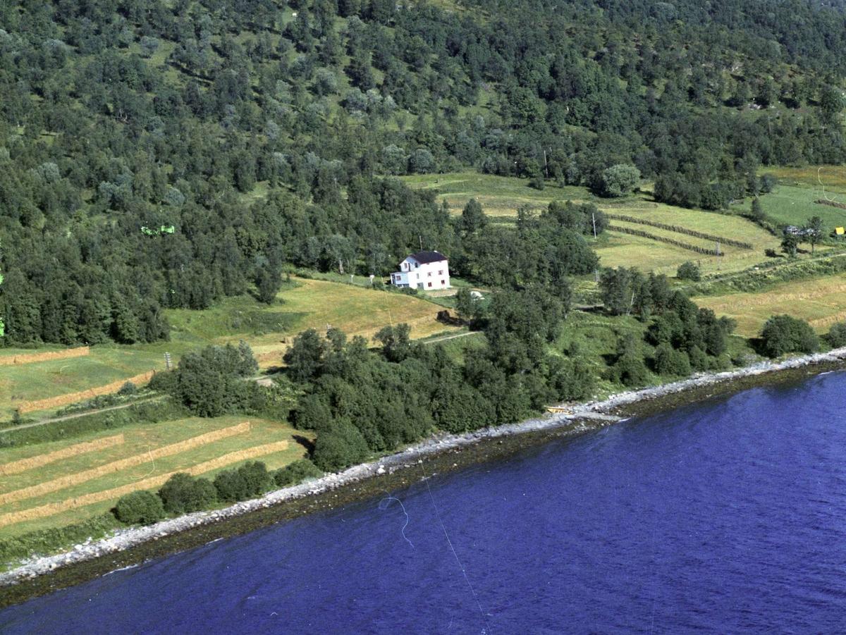 Flyfoto av et enslig hus, et sted i nærheten av Ervik.