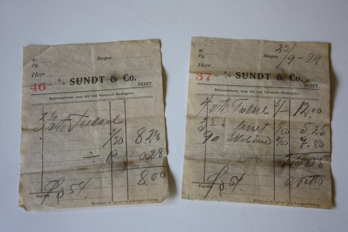 Standard kvitteringsark frå A/S Sundt & Co. Bergen